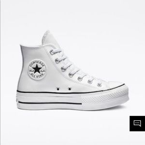 White leather platform converse